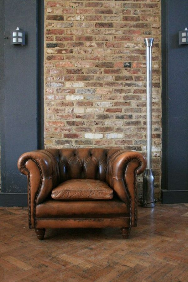 Chesterfield armchair Leather chairs Leather chair retro chair design armchair…