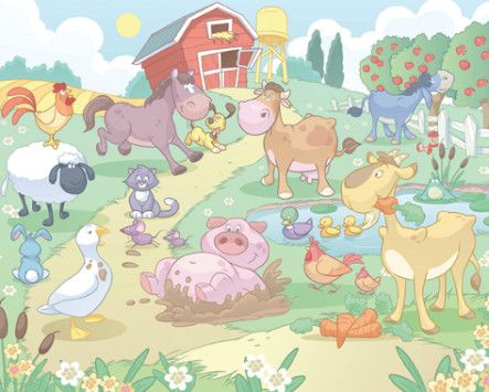'Baby Fun in the Farm' wallpaper for babies – WALLTASTIC