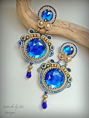 El Rinconcito de Zivi: Pendientes Soutache Grandes Azul Cobalto-Dorado, P...