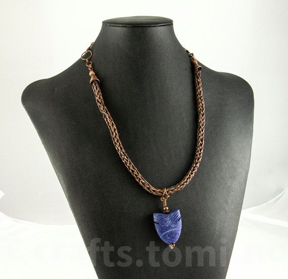 Copper necklace viking weave , lapis necklace medium , fish pendant