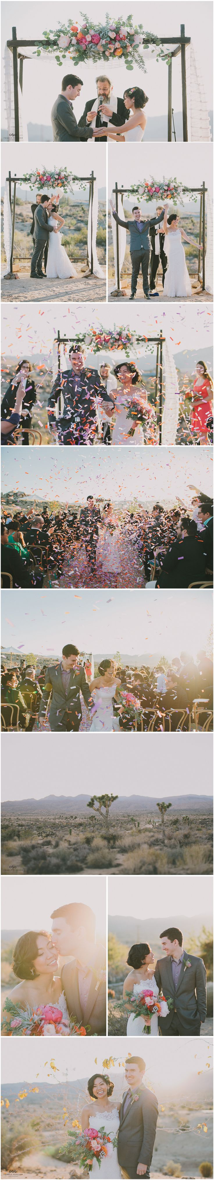Beautiful florals on the chuppah and a fun confetti ceremony exit.