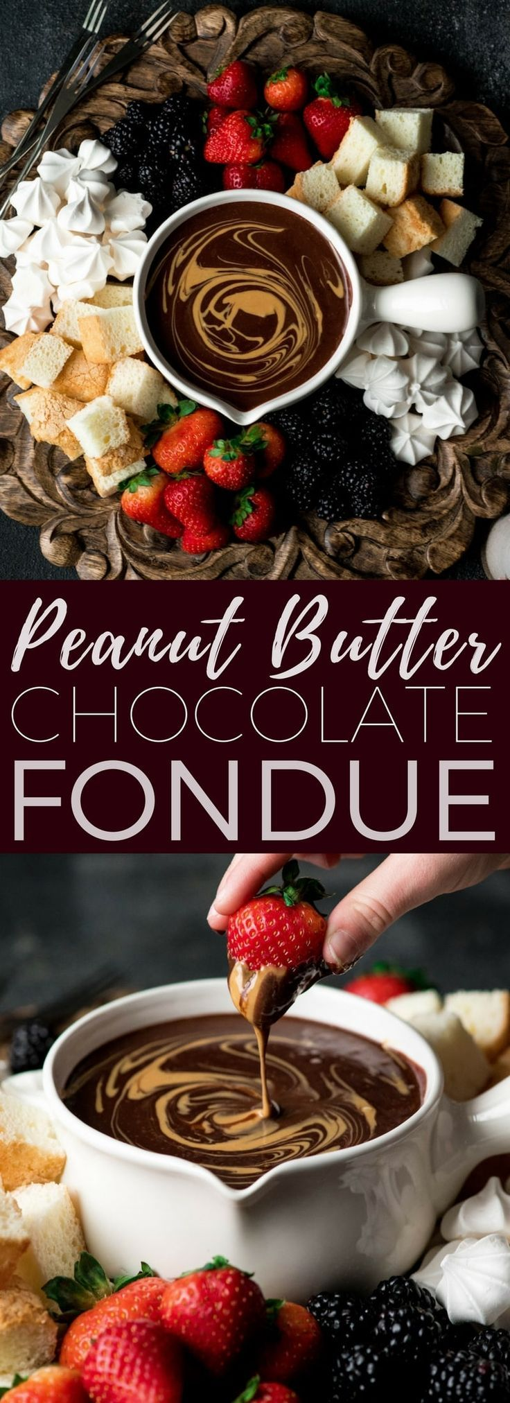 If chocolate & peanut butter is your love language, then you need to make this Dairy-Free Chocolate Peanut Butter Fondue recipe! It's the perfect desert for Valentine's Day or to serve at a Galentine's Day Brunch!