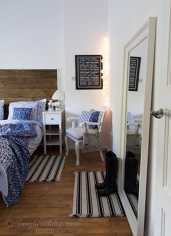 Bedroom Decorating With An Ikea Hemnes Mirror Blue Bedding Repurposed Wood And Hemnes