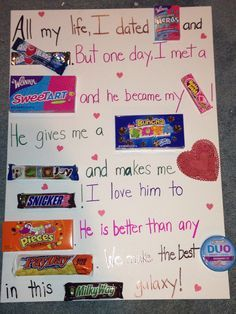 cute things to get your boyfriend for valentines day a sign but that uses candies for words - Google Search