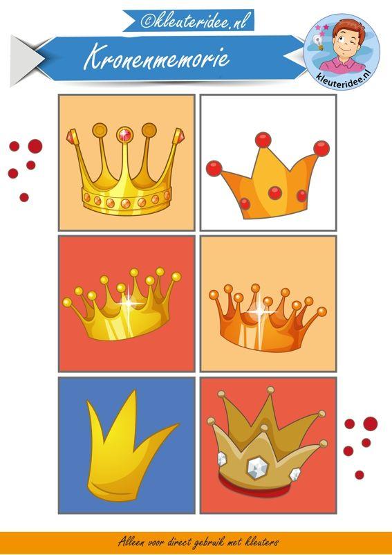 Kronenmemorie bij thema koningsdag 1, kleuteridee, Crownmemory free printable.