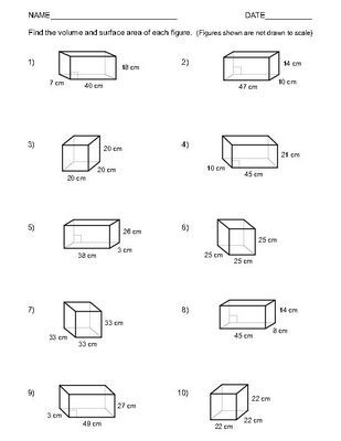 Volume and Surface Area of Rectangular Prisms  Two worksheets 1 - 10.