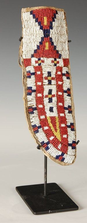 C. 1880 SIOUX BEADED HIDE KNIFE SHEATH W SKINNING KNIFE : Lot 67