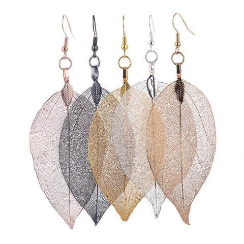 Fading Leaf Skeleton Pendant Drop Earrings  #bohemian #jewelry #art #elegance #nature #bsq #bsqaccessories #leaf  #earring #pendant
