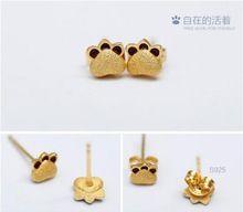 18 K gold kattenpootdruk oorbellen dier Oor sieraden voor vrouwen en meisjes zilver 925 gegraveerd(China (Mainland))