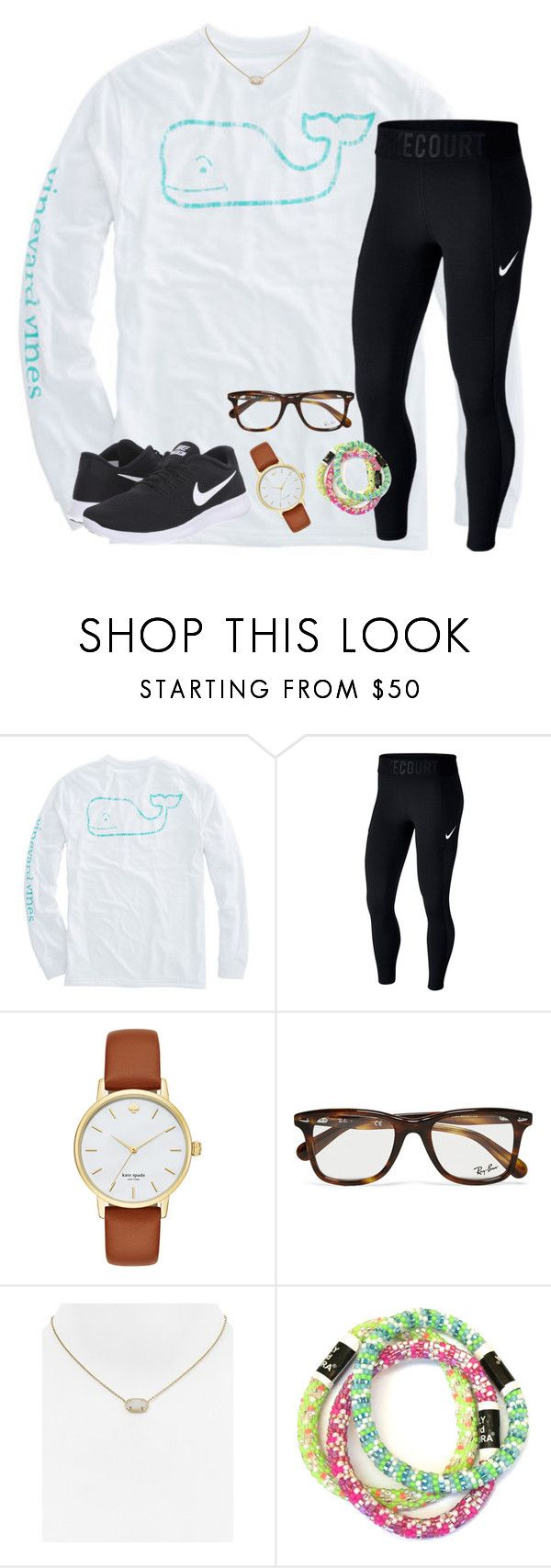 """""""When does it snow in Atlanta,GA ??"""" by hannahmae24 ❤ liked on Polyvore featuring NIKE, Kate Spade, Ray-Ban and Kendra Scott"""