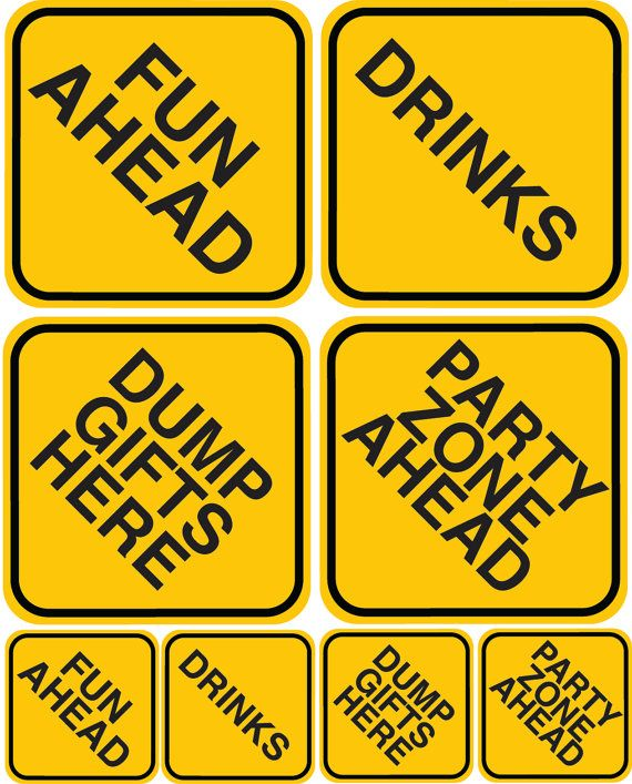 Construction Zone: Party Sign Set by 4evernalways. Explore more products on http://4evernalways.etsy.com