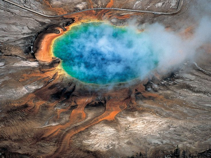 Scientists Discover Massive New Magma Chamber Under Yellowstone--The Grand Prismatic hot spring in Yellowstone National Park is among the park's myriad hydrothermal features created by the fact that Yellowstone is a supervolcano.