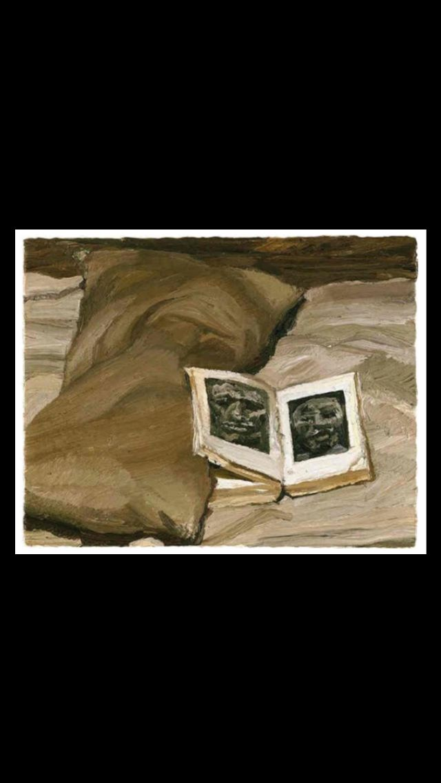 """Lucian Freud - """" Still life with Book """", 1991/92 - Oil on canvas - 19 x 24,2 cm"""