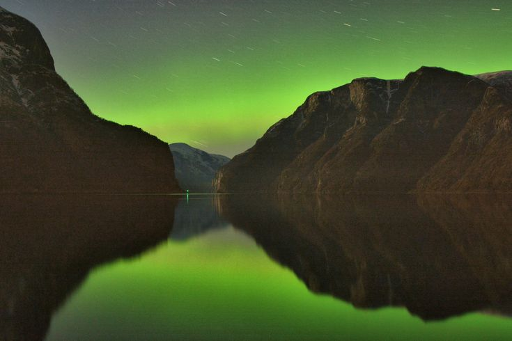 Northern Lights over the fjord, Aurland