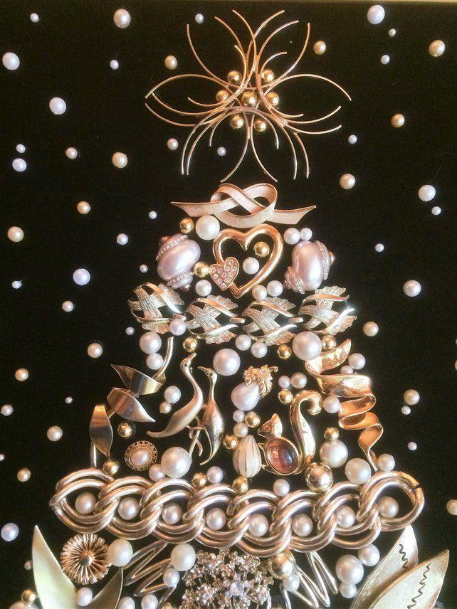 Vintage Jewelry Christmas Tree Large Magnificent Golden Christmas Tree In Snow Jewelry Christmas Tree Vintage Jewelry Crafts Crafts