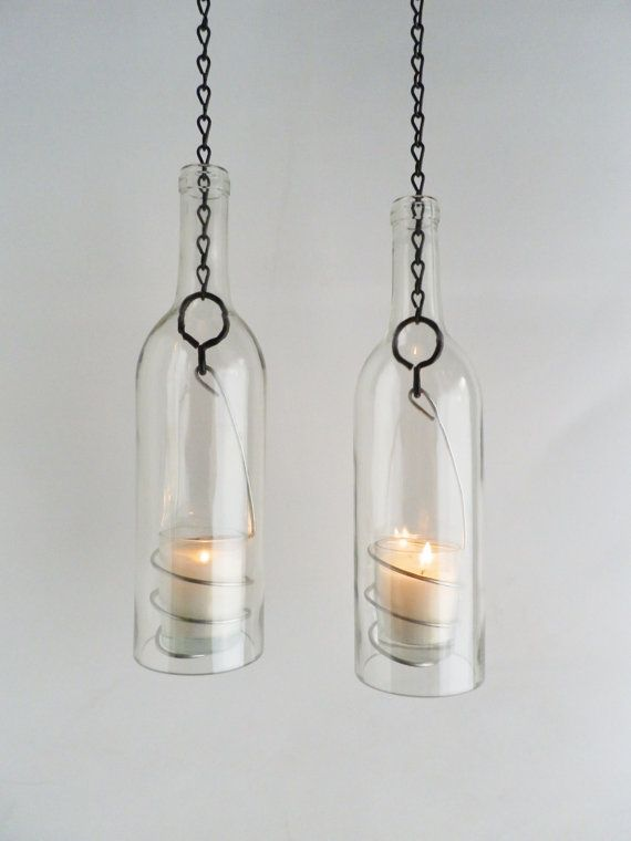 Two Clear Glass Wine Bottle Candle Holder Hanging by BoMoLuTra, $36.00    - I am going to put my glass drill bits to good use someday...great idea!