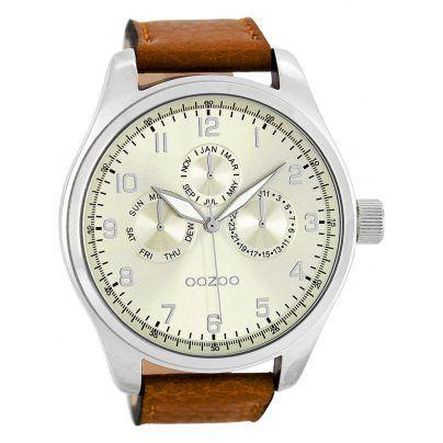 Elegante Herrenuhr von OOZOO https://www.uhrcenter.de/uhren/oozoo/timepieces/oozoo-herrenuhr-silber-cognac-c7846/