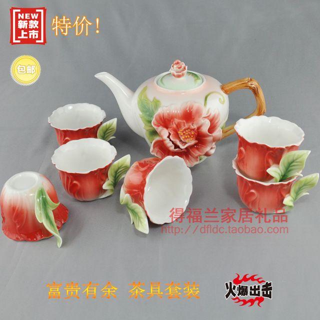 Цветные эмали фарфора кунг-фу чайный сервиз высокого класса 1 чайник 380 мл + 6 чашка 50 мл для свадебный подарок