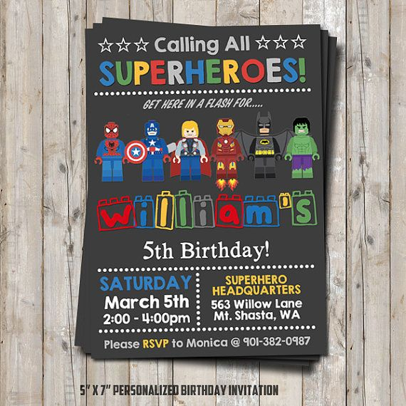 LEGO+Superhelden+Geburtstag+Einladung++von+NiteLiteDesign+auf+Etsy