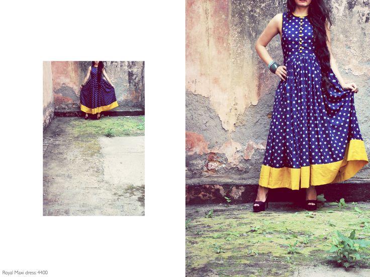 Royal maxi dress, (azrak collection) #azrak #scarlet #dress #prefall #fusion #streetstyle #fashion #ethnic #vintage #cotton #handprinted #vegetabledyed #floral #peplum #blues https://www.facebook.com/itrbykhyati