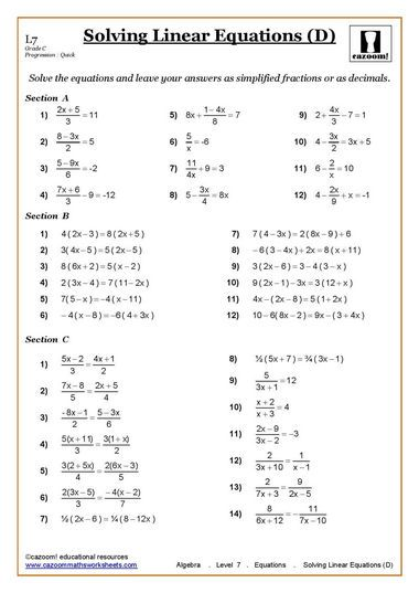 Solving Equations Maths Worksheet Algebra Worksheets Solving Linear Equations 7th Grade Math Worksheets