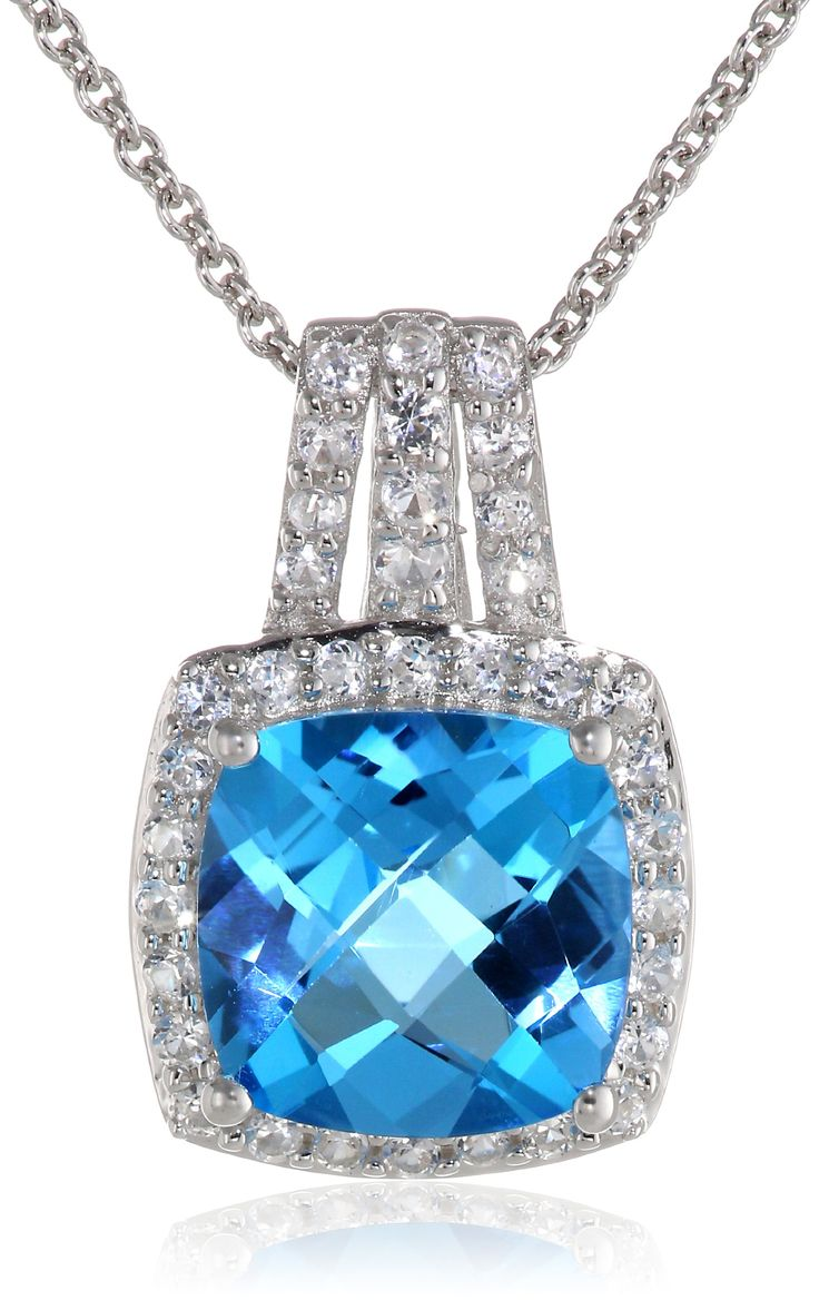 "Sterling Silver, Cushion-Cut Blue Topaz, and Created White Sapphire Pendant Necklace, 18"":"
