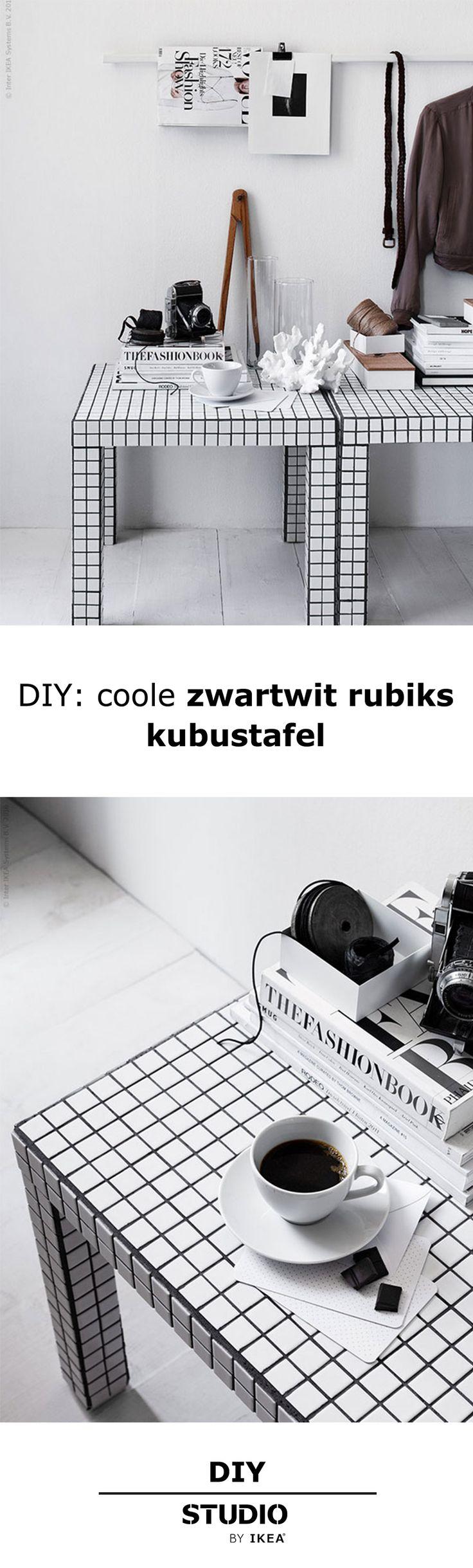DIY: coole zwartwit rubiks kubustafel   IKEA IKEANederland LACK salontafel bijzettafel tafel zwartwit