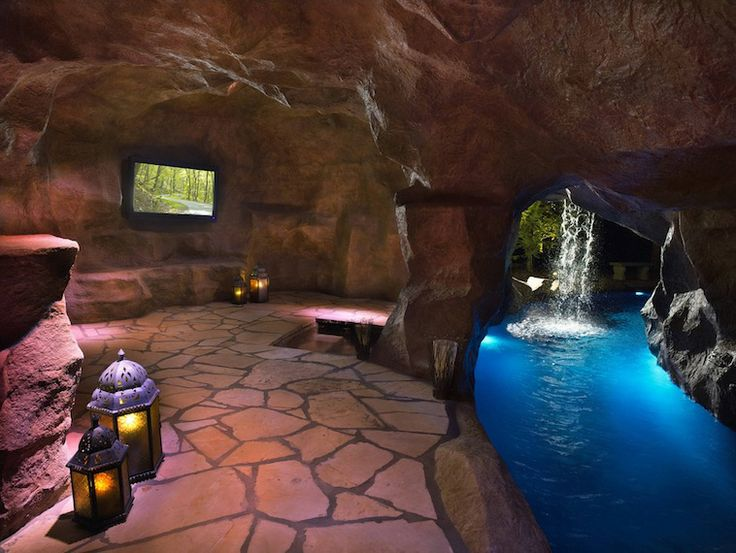 Rustic Swimming Pool With Water Feature, Exterior Stone Floors, Indoor Pool,  Waterfall, Lazy River