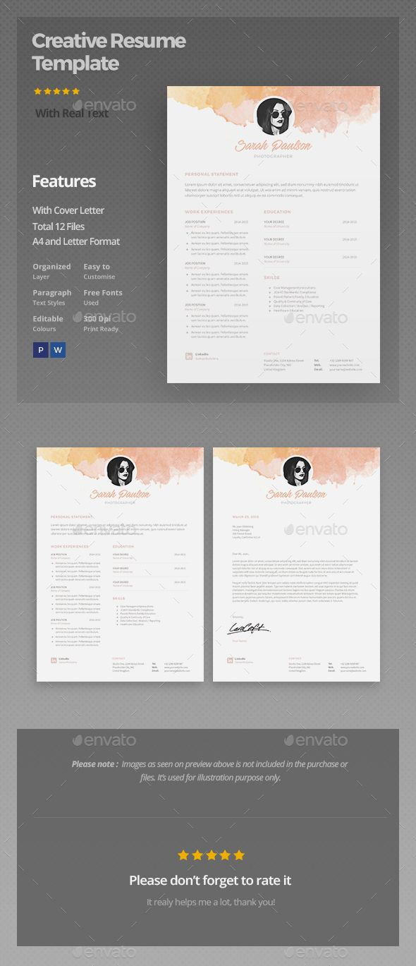 Page Resume Template By Chic Templates On Creative Market