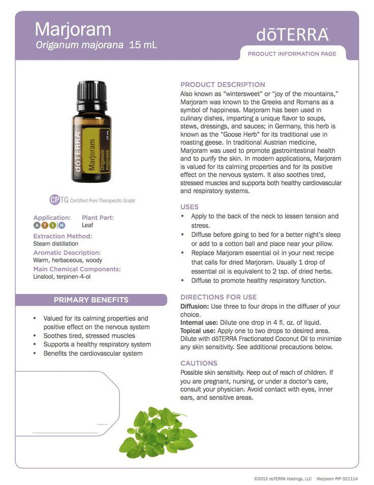 Majoram doTerra essential oils product information page.  https://www.mydoterra.com/juliezacek/#/