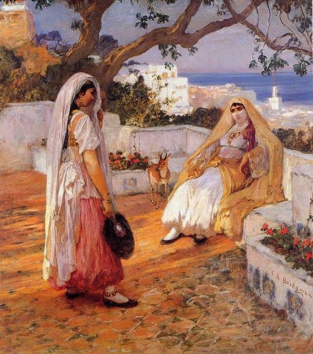 Peinture Algérie - Frederick Arthur Bridgman - Two women of Algiers