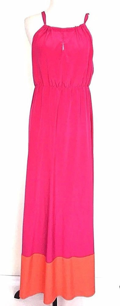 Women's Old Navy Maxi Dress Size Large NEW Pink Orange Halter Sleeveless Block  #OldNavy #Darkhotpinkwithorangebandblockatbottom #Casual