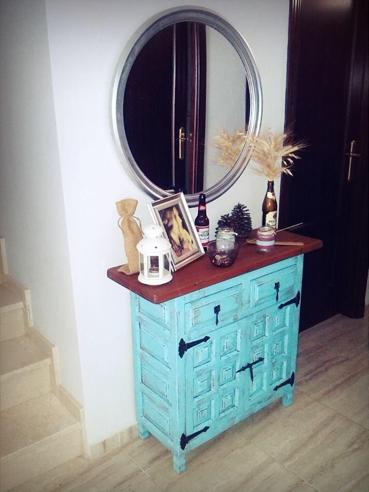 Mueble recibidor castellano recibidor con mucho encanto azul atolon espejo decoracion - Mucho mueble leon ...
