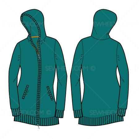 Full zip women's hooded sweater with ribbed cuff, hem and hood, front and back of illustration included as well as a zipper pattern brush.