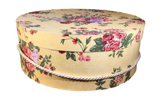Extra Large Hat Box In Vintage Yellow Floral Decorative Fabric Covered Hat Boxes Round Storage Keepsake Boxes With Fabric Covered Boxes Large Hats Hat Box