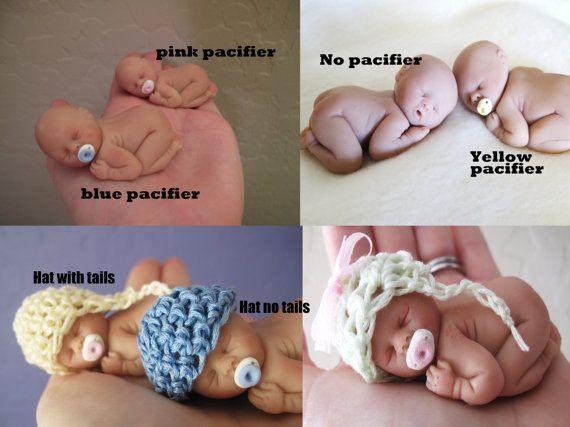 Sweet OOAK polymer clay baby BOY or GIRL sleeping by LorisLittles