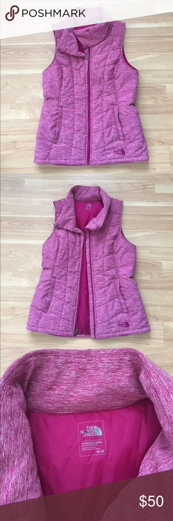 The Northface pink insulated vest NEVER WORN. Polyester/ elastase shell with nylon lining. Collared vest with a stylish closure at top to wear open or closed. In perfect condition. Disclosure: I bought this from The North Face outlet store on sale for $70. The North Face Jackets & Coats Vests