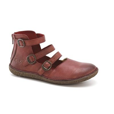 KICKERS Honorine Flat Leather Mary Janes with Strap Detail Burgundy