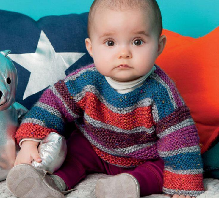 Le modèle de pull rayé fille est tricoté en '5;>Laine Phil randonnées'. Ce modèle est fermé dans le dos par 2 pressions. Il est tricoté au point mousse rayé, et se décline pour les garçons dans les autres couleurs de la qualité. Amusez-vous et créez vos pulls rayés personnalisés.Modèle tricot n°28 du catalogue N° 111 : Enfants, Layette - automne/hiver 2014