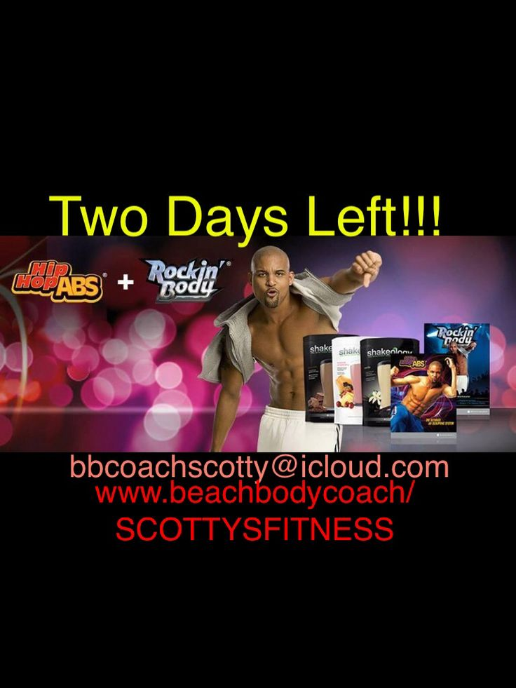 Only two days left to get in on this sale!! Hip Hop Abs & Rockin Body all in one pack,plus Shakeology!! A great deal. This is such a Fun Workout & get in your Nutrition too with Shakeology!! Don't Miss Out!! Message Me and reference Hip Hop Abs Sale.  email-bbcoachscotty@icloud.com Kik-bbcoachscotty  Website-www.beachbodycoach.com/SCOTTYSFITNESS #fit #weightloss #loseweight #sweat #dance #hiphopabs #rockinbody #love #jj #canada