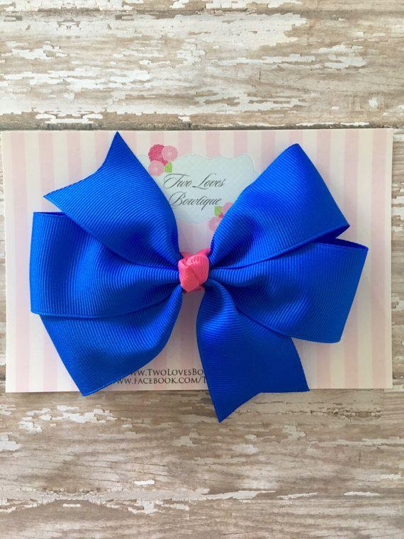 hair bows blue hair bow royal blue hair by TwoLovesBowtique