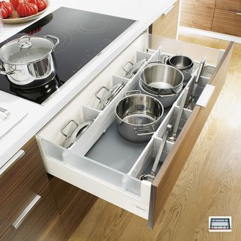 Pot and pan storage – white kitchen pan drawer dividers fit Blum Intivo drawers, and include pot lid storage plus everyday utensils.