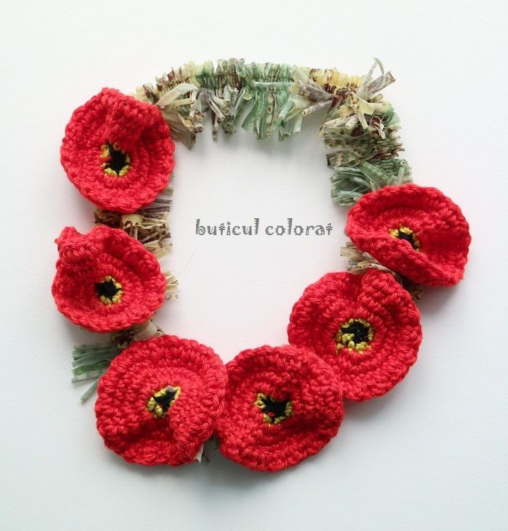 Poppy Crowns, poppy headband, Boho - hippie, Hair accesorie, festival flower hair band, crochet red flowers by ButiculColorat on Etsy