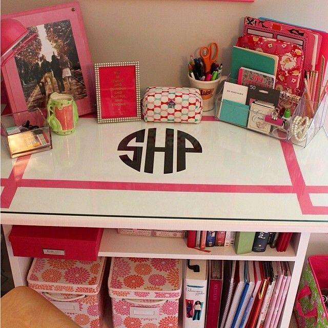 i love this monogrammed desk art classroom pinterest. Black Bedroom Furniture Sets. Home Design Ideas
