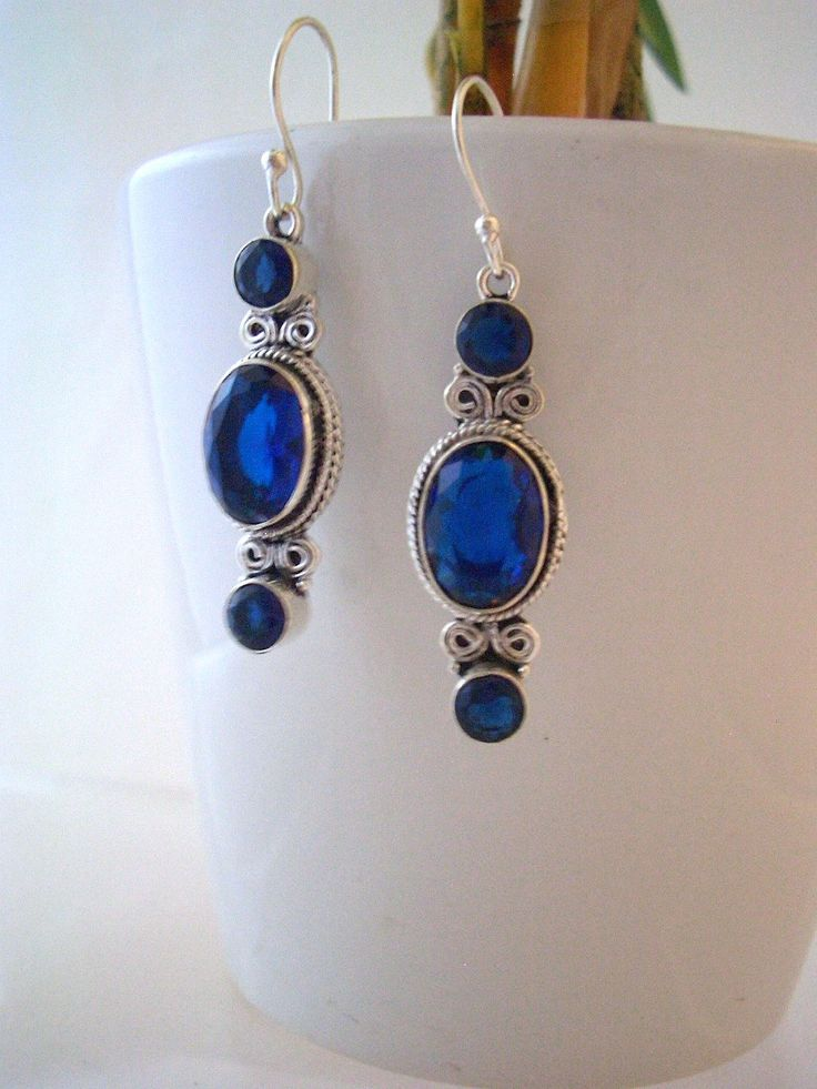 Dark Blue SAPPHIRE QUARTZ Gemstones, 925 Solid Sterling Silver Feminine Earrings Jewellery! by AmeogemJewellery on Etsy
