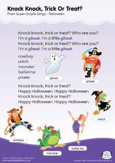 Lyrics poster for Knock Knock, Trick Or Treat? Halloween song from Super Simple Learning. #kidssongs #kindergarten #ESL