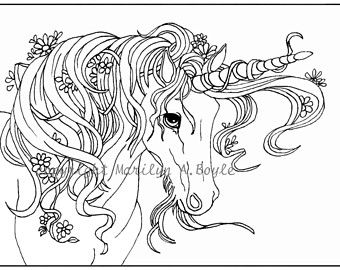 DIGITAL UNICORN Coloring Page or POSTER original