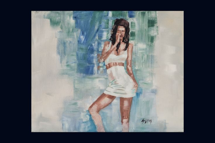 """210$ """"Model 1"""". This is a painting of a model. It is painted as a flirting motive. The style of the painting is unique in a way that the model is painted with very hard looking brush strokes. There has been no effort to smooth things out. That gives a original and unique look."""