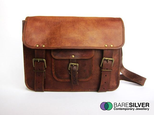 Handmade Brown Leather Vintage Style Bag - Satchel - Laptop Bag -  University Bag £45.99 b6d00b24af240