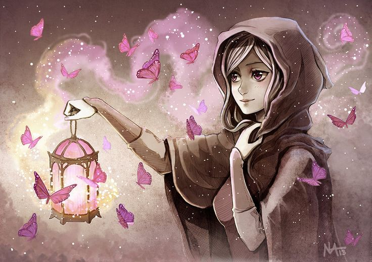 anime girl with lantern and butterflies